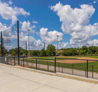 view of baseball field from concrete project